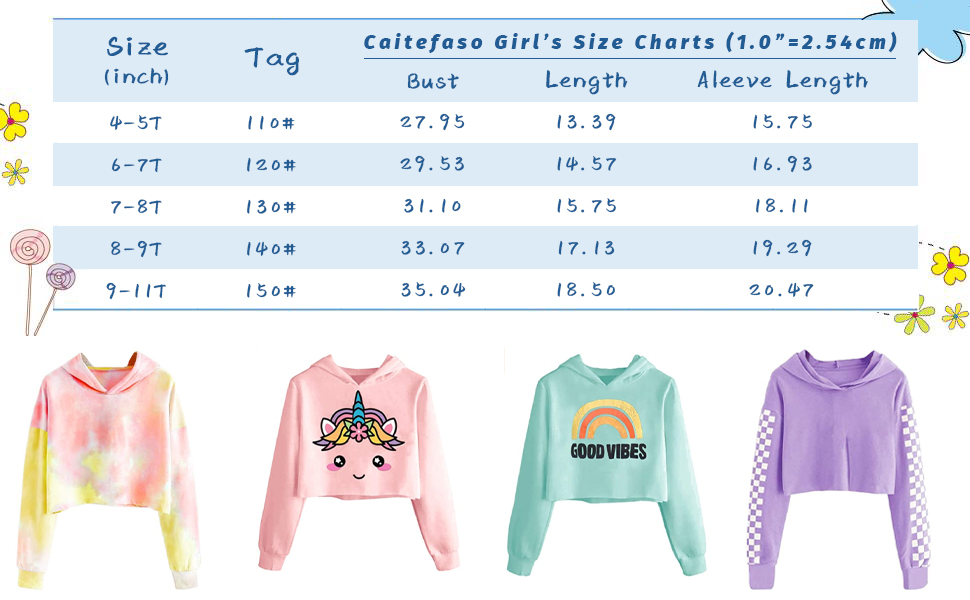 Girls Unicorn Hooded Crop Tops Jackets Kids Sweatshirts Fall Clothes 3-9 T