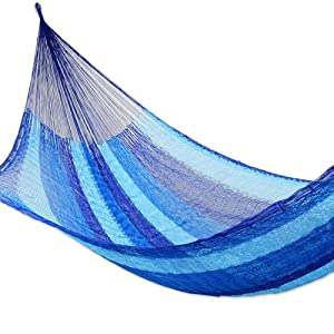 NOVICA,Blue,Handmade,Nylon,1 Person,Rope,Swing,Hammock,Portable,Hanging,Hooks,Garden,Home,Beach,Net