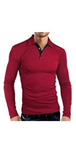 Men's Casual Fashion Polos Shirts Fashion Golf Tennis Business T-Shirts Classic Tops Long Sleeve
