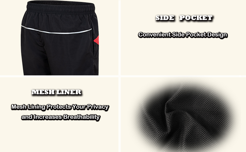 """Running Shorts for Men Active Workout GYM 5"""" Shorts Lightweight with Reflective Stripes"""