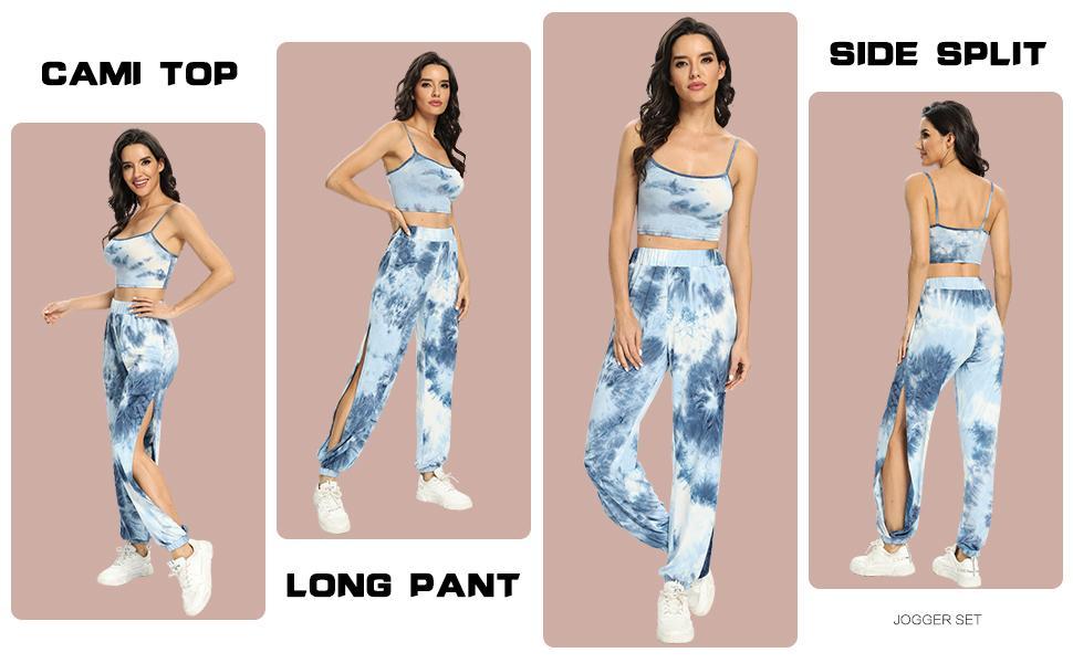 Womens Tie Dye 2 Piece Tracksuits Cami Top Side Split Long Pants Set Sports Sweatsuits