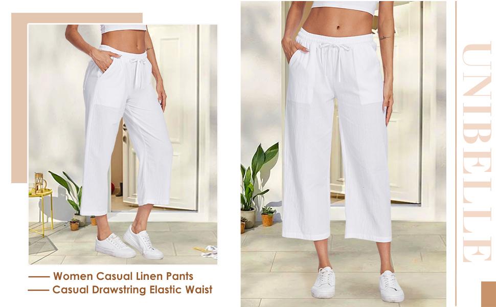 women casual beach linen pants