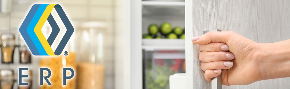Hand opening refrigerator with ERP logo