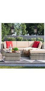 5 pieces patio sofa(grey rattan)