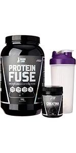 protein fuse, creatina e um brinde para misturar a bebida