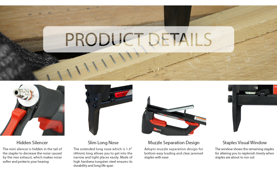 The product details of KIMSING 7116L Pneumatic long nose upholstery stapler