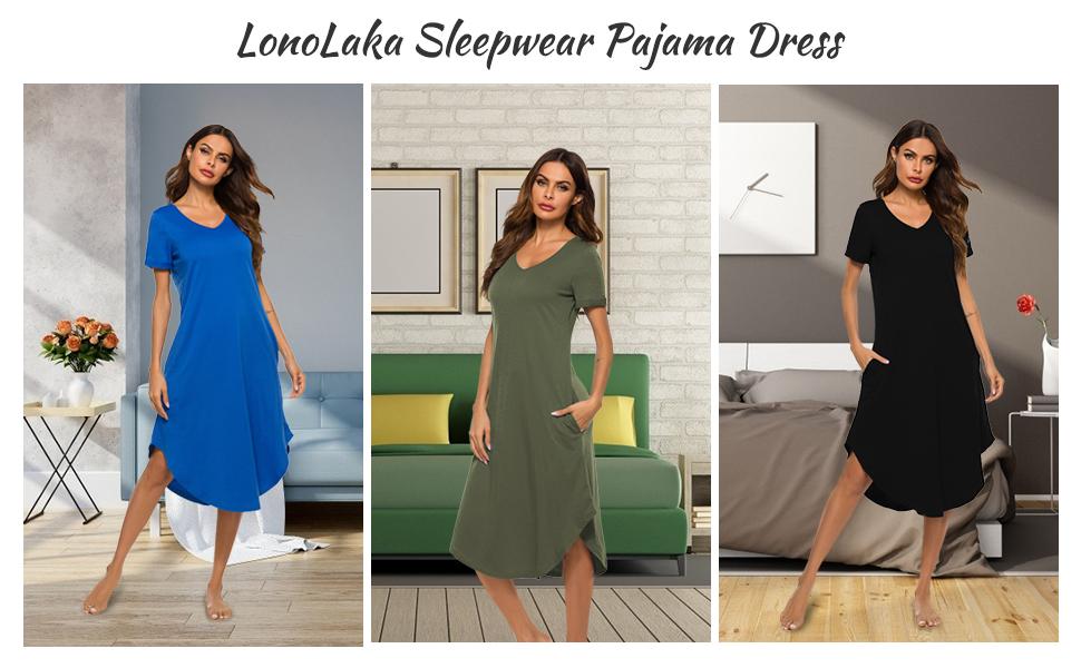 LonoLaka Womens Short Sleeve V Neck Loungewear Loose Sleep Long Dress Nightgown With Pockets