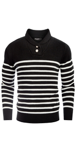 mens striped sweater shawl collar button knit pullover sweaters long sleeve slim fit thick sweater
