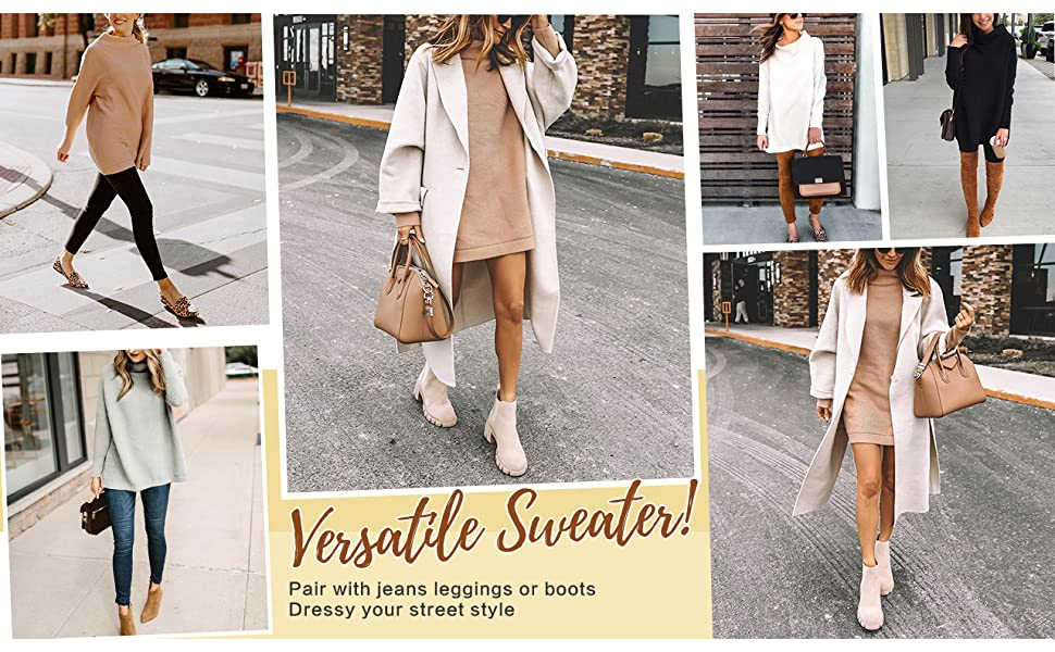 Women's Casual Turtleneck Long Sleeve Loose Oversized Baggy Blouses Pullover Tunic Sweater Dress