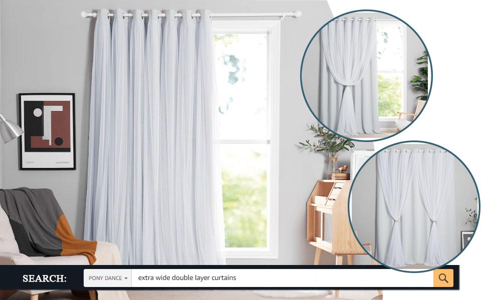 patio window curtain double layer