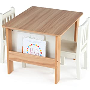 kids wood table and 2 chairs set children furniture playroom built in storage bookrack organization