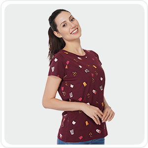 Cotton t-Shirts Tops  for Women Stylish Latest in Regular Fit & Half Sleeve SPN-JGS