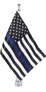 Thin Blue Line American Flag With Flag Pole