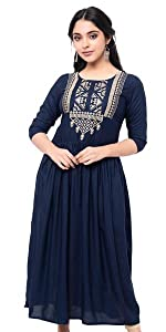 Pure Rayon Embroidered kurta for Women