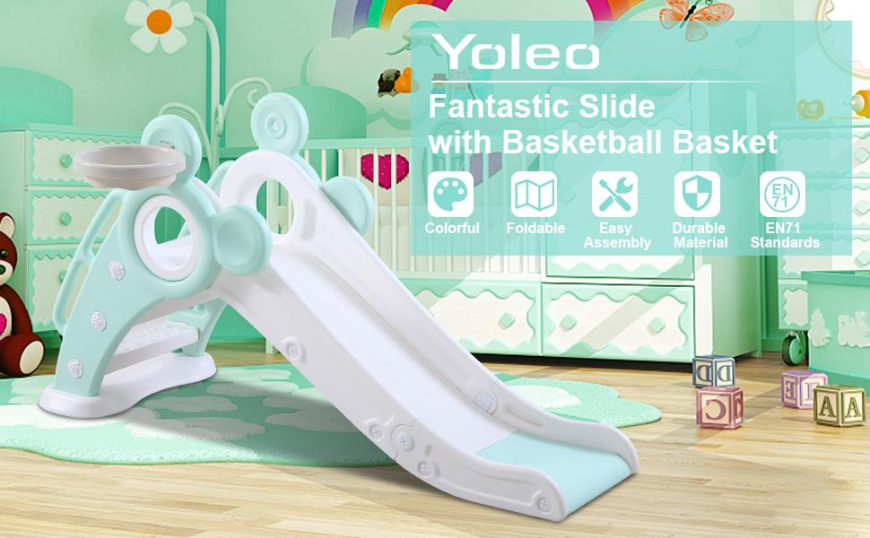 Green slide for kids