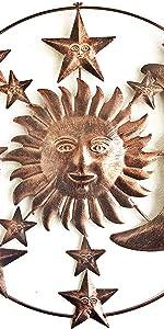 Bellaa Metal Wall Art Sun Moon Stars Sculptures Celestial Indoor Outdoor Hanging Decor 20 inch