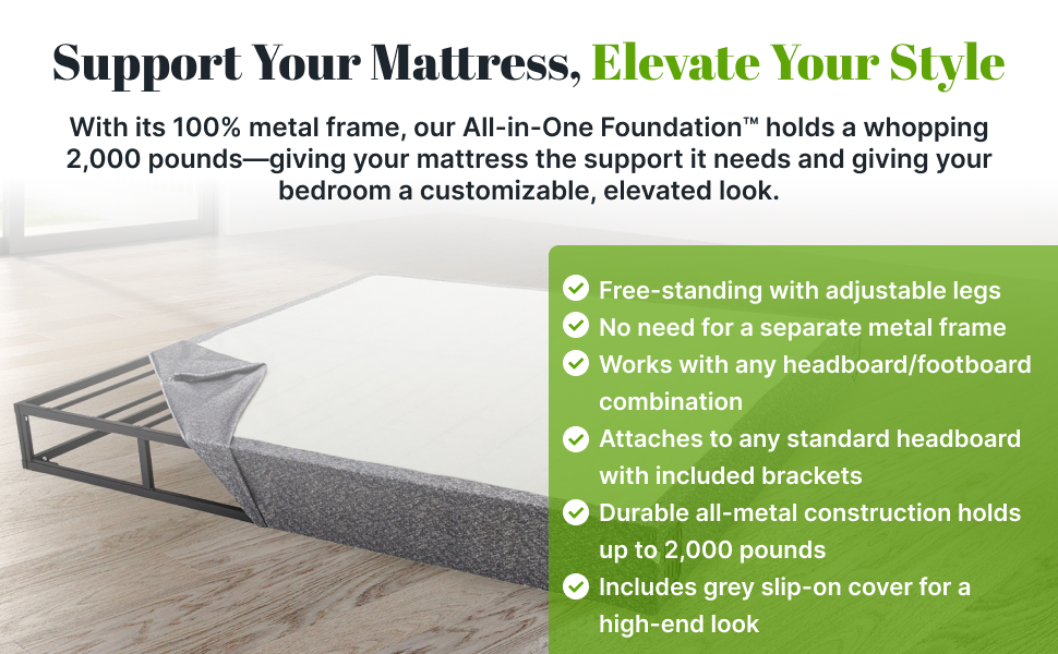 100% metal frame works with any headboard footboard combination