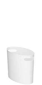 White Plastic Small Bathroom Oval Trash Can with Handles
