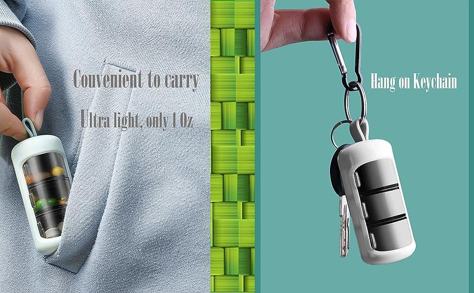 mini keychain small 2 or 3 times per day pill organizer