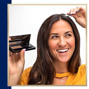 Woman applying Root Touch Up Powder - how to use