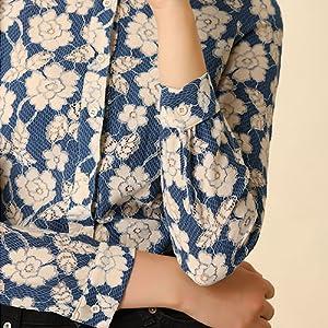 Allegra K Women's Lace Floral Semi Sheer Work Button Down Collar Shirt