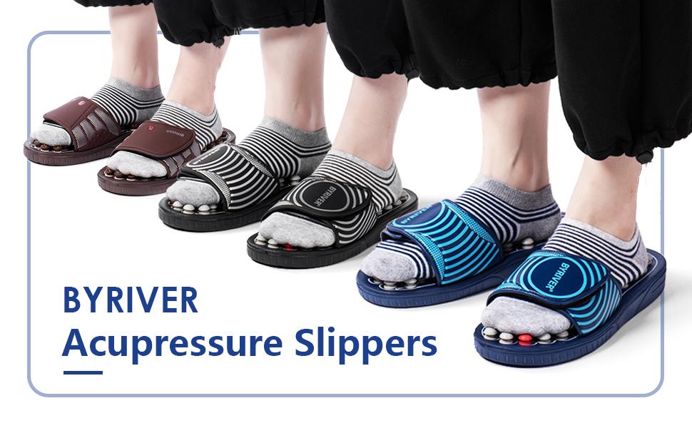 BYRIVER Acupressure Slippers, black, brown, blue color