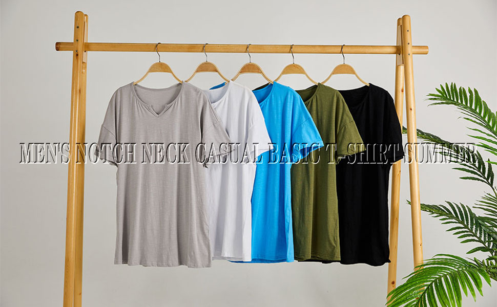 mens notch neck causal basic shirts