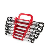 Flex Ratcheting Box End Wrench Set, 6-Piece (8-19 mm) - Holder