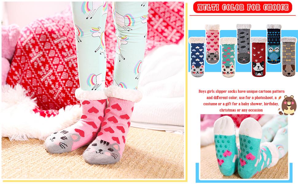 Kid Boys Girls Warm Slipper Cute Soft Thick Winter Thermal Fleece Fuzzy Non-Skid Children Home Socks