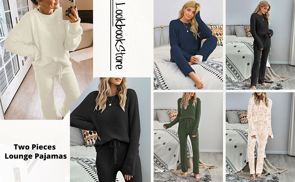 LookbookStore Women Casual Long Sleeve Top and Pants PJ Sets Knitted Loungewear