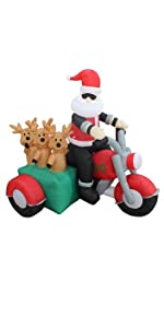 5 Foot Tall Christmas Inflatable Santa Claus and Three Reindeer on Motorcycle