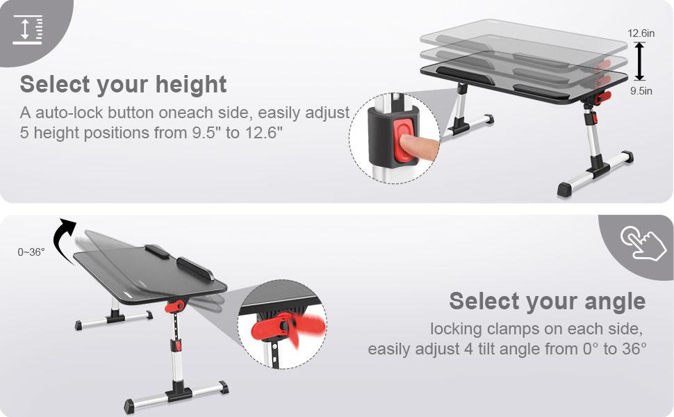 4 adjustable table height and 4 angle of tilt