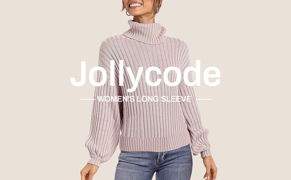 Jollycode women's long sleeve turtleneck pullover
