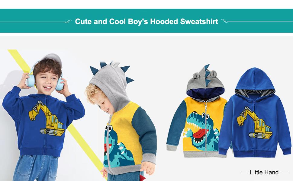 Toddler Boys Hoodies Jacket Cartoon Dinosaur Zipper Packaway Spring Coat