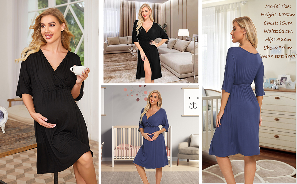 Women's Maternity Dress Nursing Nightgown for Breastfeeding 3 in 1 Labor Delivery Robe