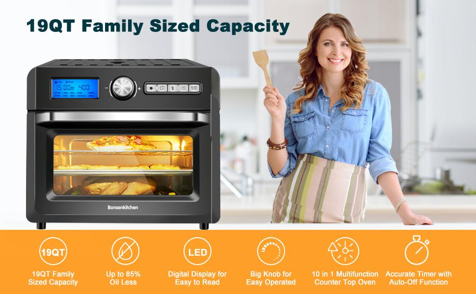 19QT Family Sized Capacity Toaster Air Fryer Oven