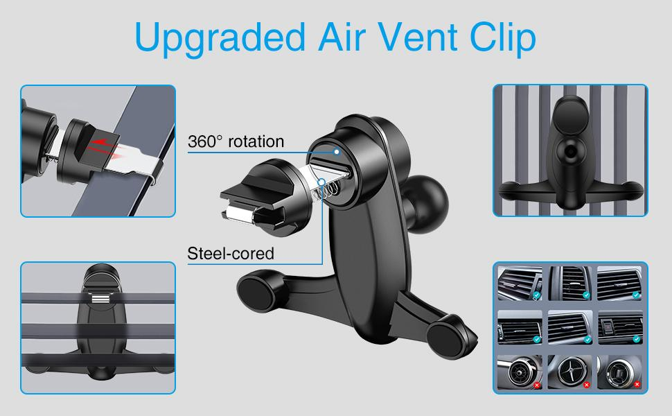 Upgraded Air vent clip, fit for most vertical and horizontal vents