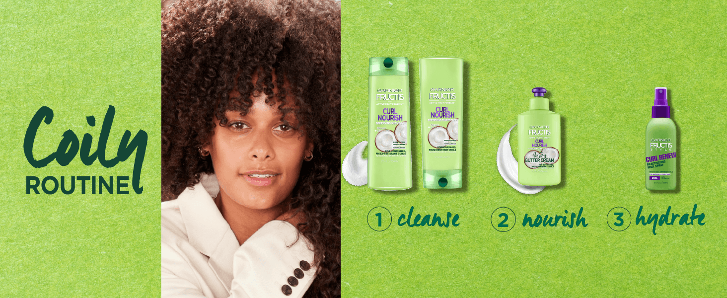 coily routine - 1. cleanse 2. nourish 3. hydrate