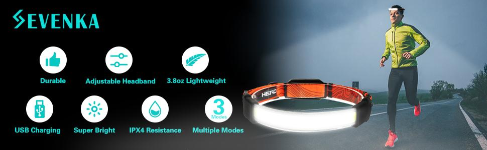headlamp flashlights red light strobe lights adjustable headband