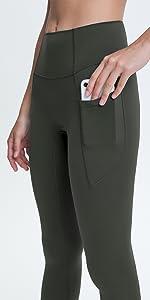 No Cameltoe Leggings with Side Pockets, High Waisted 7/8 Length Seamless Yoga Pants for Women