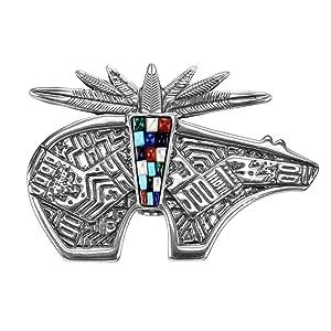 Sterling Silver Inlay gemstone bear pendant pin