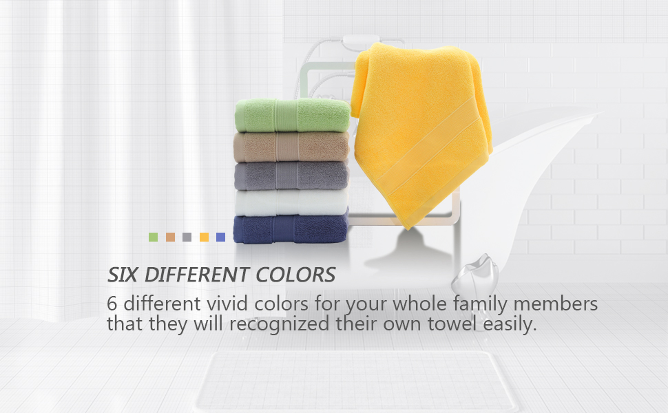 six different colors hand towels