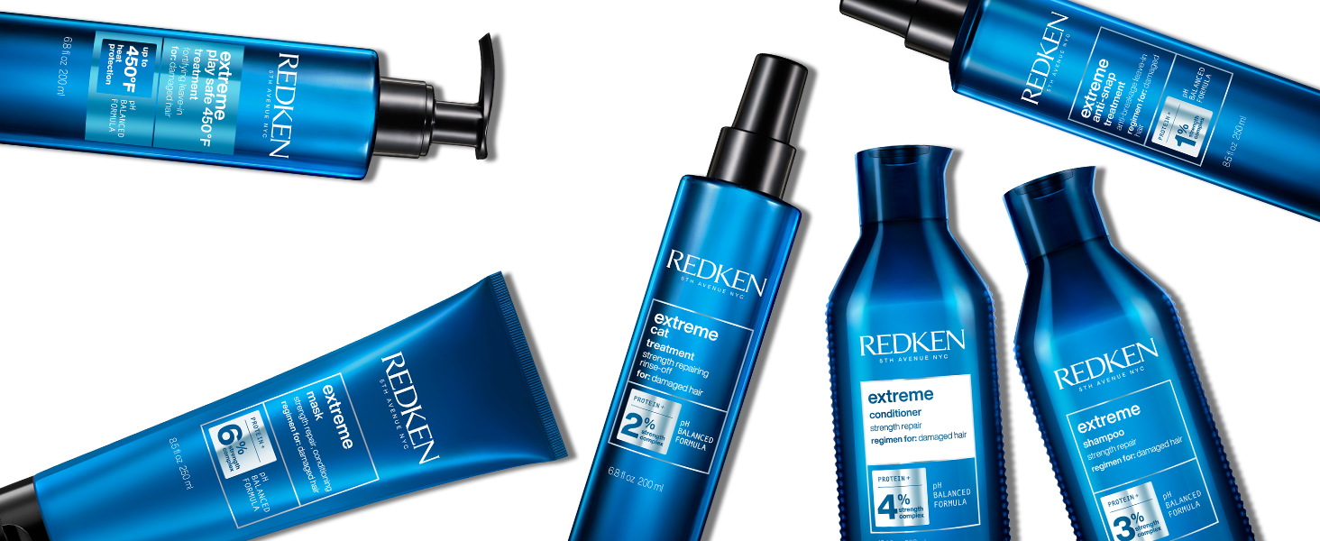 Redken extreme, treatment, hair damage, for damaged hair, for colored hair, heat protection