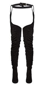 Women Belted Zipper Chunky Heel Thigh High Boots
