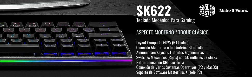 Cooler Master SK622 Teclado Inalámbrico Gaming, Layout Compacto 60%, Switches Mecánicos Perfil Bajo, Retroiluminación RGB per-Key, Conexión Alámbrica, ...