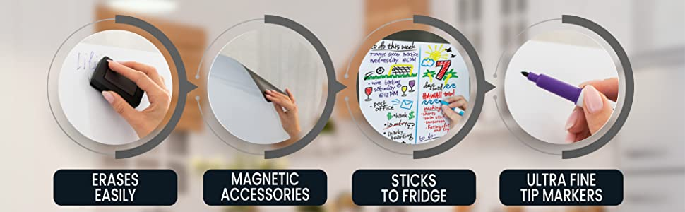 erases easily, magnetic accessories, sticks to fridge, ultra fine tip markers