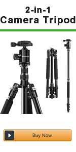 Camera tripod and monopod for travel and work