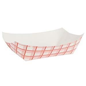 Paper Food Boats (250 Pack) Disposable Red and White Checkered Paper Food Trays - Red Paper Trays
