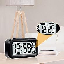 black alarm clock for bedrooom