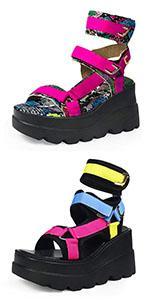 goth platform wedge sandals for women